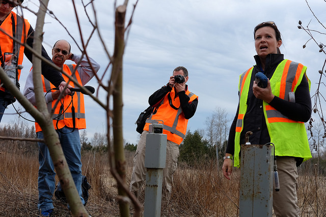 Reporters near Guelph, ON meet with hydrologists from Nestle about groundwater taking in Southern Ontario.